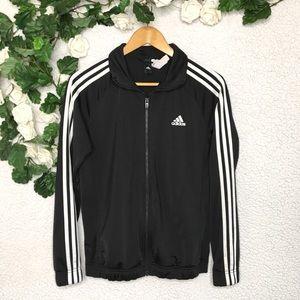 Adidas - Black 3 Stripe Sleeve Zip Up Jacket